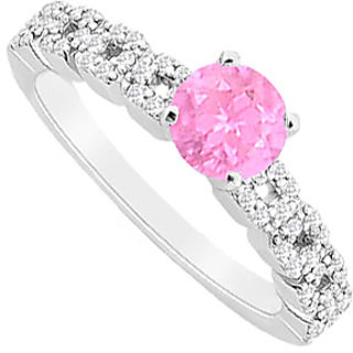 Comely Pink Sapphire And Diamond Engagement Ring With 14K White Gold Design 1