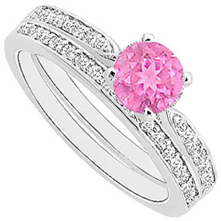 Delightful Pink Sapphire And Diamond Engagement Ring With Wedding Band Set With 14K White Gold