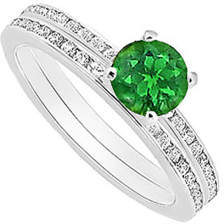 Delightful Emerald And Diamond Engagement Ring With Wedding Band Set With 14K White Gold