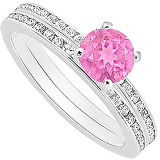 Elegant Pink Sapphire And Diamond Engagement Ring With Wedding Band Set With 14K White Gold