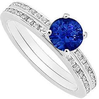 Fascinating Sapphire And Diamond Engagement Ring With Wedding Band Set With 14K White Gold