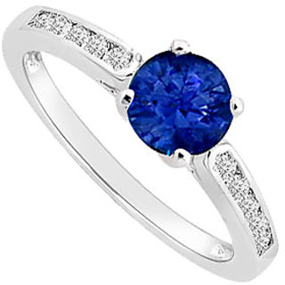 Dazzling Sapphire And Diamond Engagement Ring With 14K White Gold Design 2