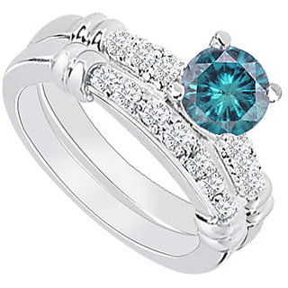 Dazzling With 14K White Gold Blue Diamond Engagement Ring With Wedding Band Set