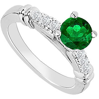 Excellent With 14K White Gold Emerald And Diamond Engagement Ring