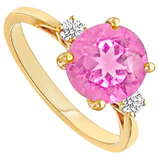 Enticing Pink Topaz And Diamond Ring With 14K Yellow Gold