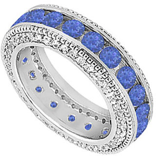 Bewitching Sapphire And Diamond Wedding Band With 14K White Gold