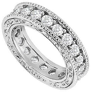 Classy Diamond Wedding Band With 14K White Gold Design 1