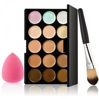 Magideal 15 Colors Contour Concealer Palette 1 Foundation Powder Makeup Brush 1 Puff