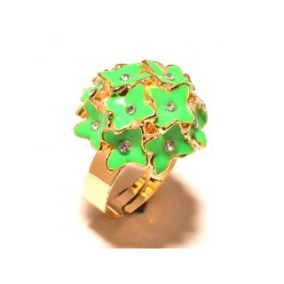 sanaa creations Green Ennamel Gold Plated Ring
