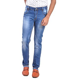 LOBSTAR  Skinny Fit Men's Blue Jeans with Distressed
