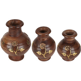 Wonder Crafts Brown Set of 3 Hand Carved Pot Set