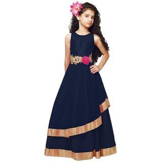 new arrival designer navy blue softnet partywear kids gown.