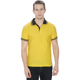 Baremoda Yellow Cotton Blended Polo T-Shirts