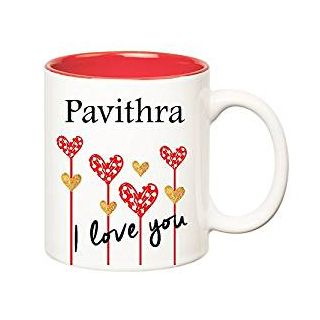 Huppme I Love You Pavithra Inner Red Ceramic Mug (350 ml)