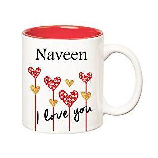 Huppme I Love You Naveen Inner Red Ceramic Mug (350 ml)