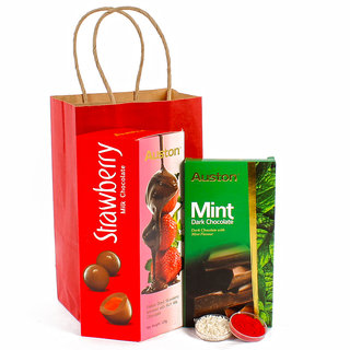 Bhaidooj Hamper of Auston Imported Chocolates with Tikka