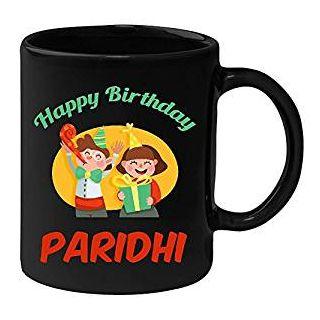Huppme Happy Birthday Paridhi Black Ceramic Mug (350 ml)