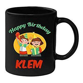 Huppme Happy Birthday Klem Black Ceramic Mug (350 ml)