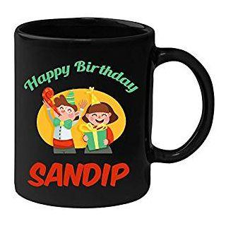 Huppme Happy Birthday Sandip Black Ceramic Mug (350 ml)
