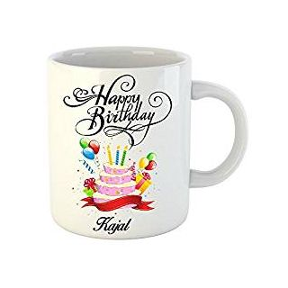 Huppme Happy Birthday Kajal White Ceramic Mug (350 ml)