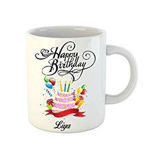 Huppme Happy Birthday Liya White Ceramic Mug (350 ml)
