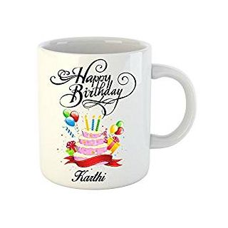 Huppme Happy Birthday Karthi White Ceramic Mug (350 ml)
