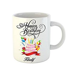Huppme Happy Birthday Khalif White Ceramic Mug (350 ml)