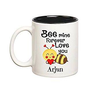 Huppme Love You Arjun Bee mine Forever Inner Black Mug