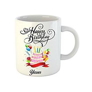 Huppme Happy Birthday Yasser White Ceramic Mug (350 ml)