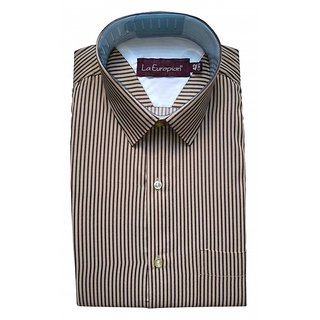 La Europian Brown + Coffee Pencil Stripped Formal Shirt