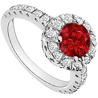 Grand Ruby And Diamond Halo Engagement Ring With 14K White Gold