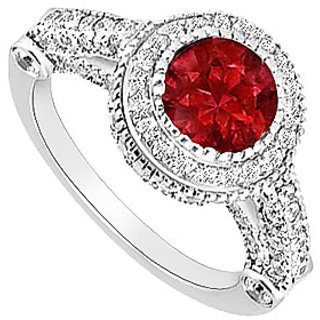 Pleasing Ruby And Diamond Halo Engagement Ring With 14K White Gold