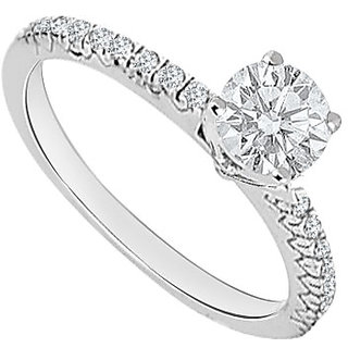 Ideal With 14K White Gold Diamond Engagement Ring