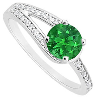 Magnificent Emerald And Diamond Engagement Ring With 14K White Gold Design 1
