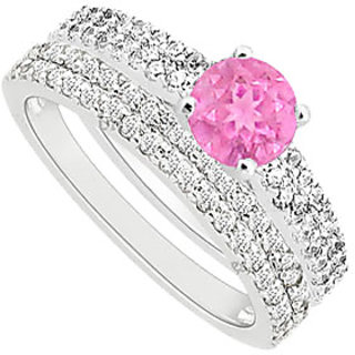 Pleasing Pink Sapphire And Diamond Engagement Ring With Wedding Band Set With 14K White Gold