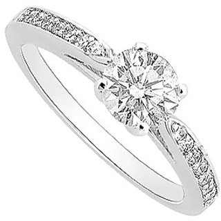 Handsome Diamond Engagement Ring With 14K White Gold