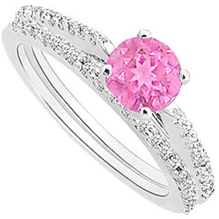 Gorgeous Pink Sapphire And Diamond Engagement Ring With Wedding Band Set With 14K White Gold