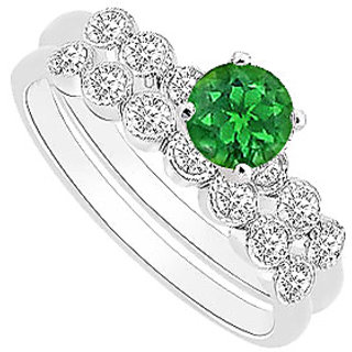 Gorgeous Emerald And Diamond Engagement Ring With Wedding Band Set With 14K White Gold