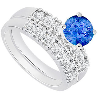 Lovely With 14K White Gold Tanzanite And Diamond Engagement Ring With Wedding Band Set Design 1