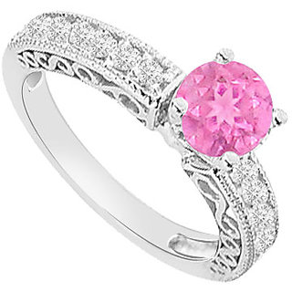 Fine With 14K White Gold Pink Sapphire And Diamond Engagement Ring