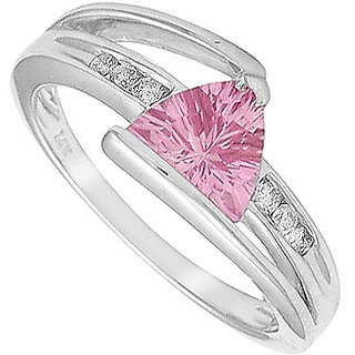 Lovely Created Pink Sapphire And Diamond Ring With 14K White Gold