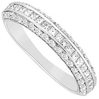 Pleasing Diamond Wedding Band With 14K White Gold Design 2