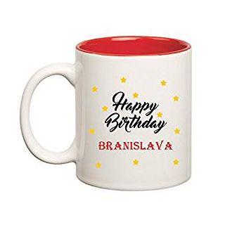 Huppme Happy Birthday Branislava Inner Red Mug