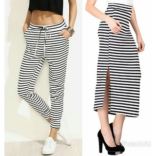 Raabta Black and white stripes pencil Skirt and Drosting Pent Set of Two combos