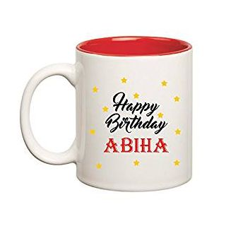 Huppme Happy Birthday Abiha Inner Red Mug