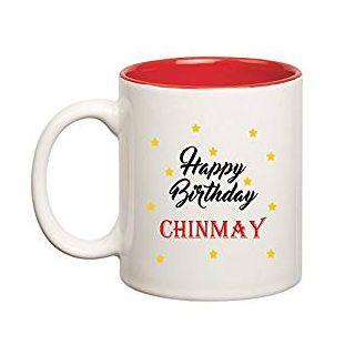 Huppme Happy Birthday Chinmay Inner Red Ceramic Mug (350ml)
