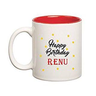 Huppme Happy Birthday Renu Inner Red Ceramic Mug (350ml)