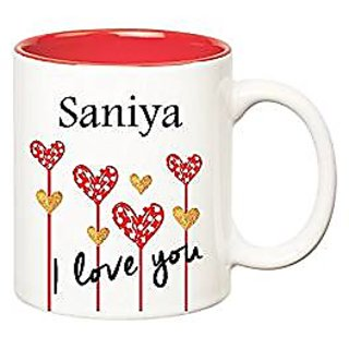 Huppme I Love You Saniya Inner Red Ceramic Mug (350 ml)