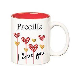 Huppme I Love You Precilla Inner Red Ceramic Mug (350 ml)
