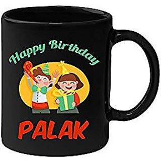 Huppme Happy Birthday Palak Black Ceramic Mug (350 ml)
